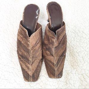 Sesto Meucci   Snake Print Brown Leather Mules